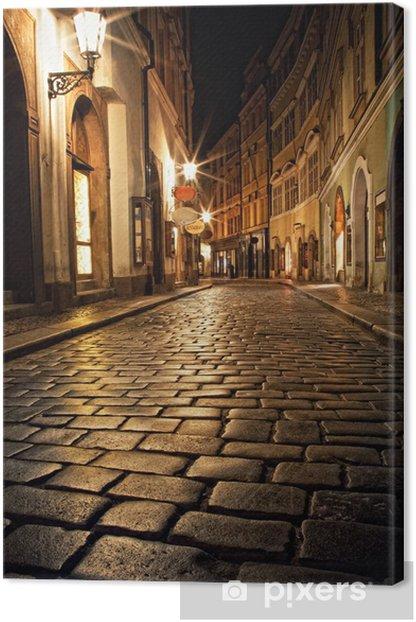 Tableau sur toile Ruelle étroite avec des lanternes à Prague dans la nuit - Prague