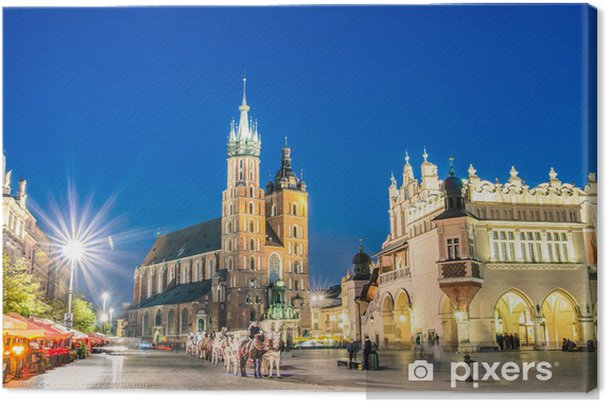 Tableau sur toile Rynek Glowny - La place principale de Cracovie en Pologne - Thèmes