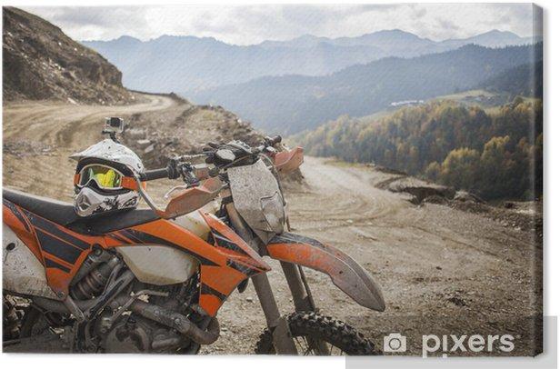 Tableau sur toile Sale enduro moto motocross casque sur route - Vie