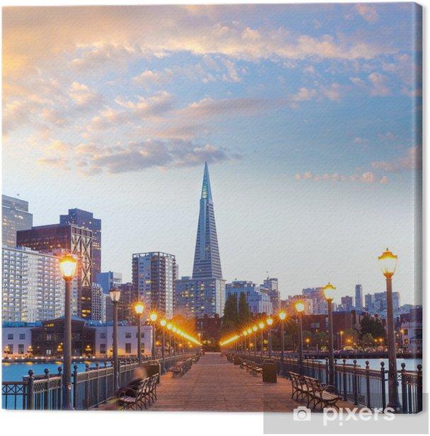 Tableau sur toile San Francisco Pier 7 coucher du soleil en Californie - Thèmes