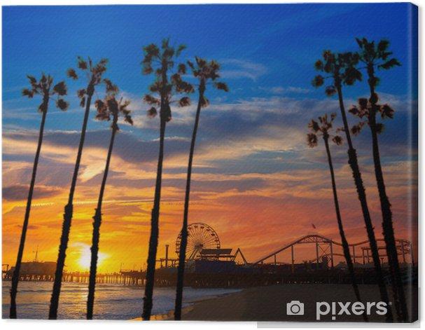 Tableau sur toile Santa Monica en Californie coucher de soleil sur la roue Ferrys Pier - Palmiers