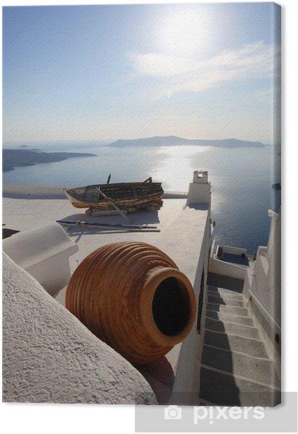 Tableau sur toile Santorin avec vase et bateau sur le toit blanc, Grèce - Europe