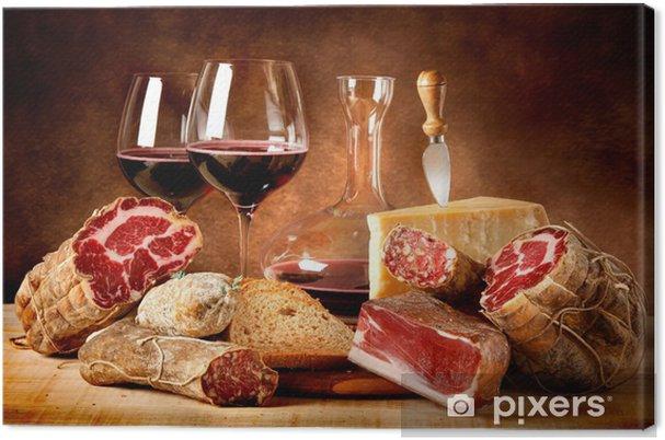 Tableau sur toile Saucisses au fromage et vin rouge - Thèmes