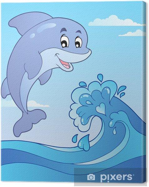 Tableau sur toile Saut de dauphin avec 1 vague bande dessinée - Pour enfant de 5 ans