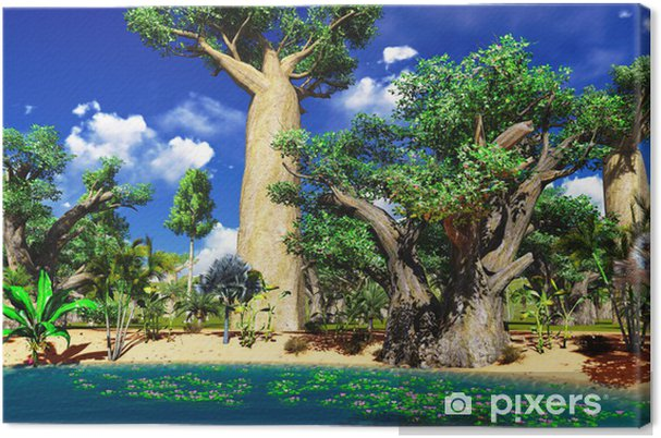 Tableau sur toile Savane africaine avec une végétation luxuriante et dynamique de la piscine - Thèmes