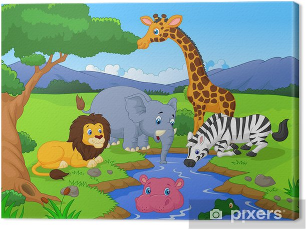 Tableau sur toile Savannah paysage avec animaux et point d'eau - Pour élève
