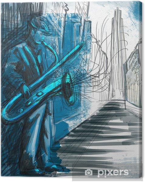 Tableau sur toile Saxophoniste (plein dessin à la main de taille - original) - Jazz
