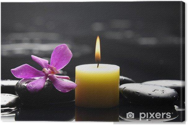 Tableau sur toile Scène de spa tranquille - aromathérapie bougies et pierres zen - Fleurs