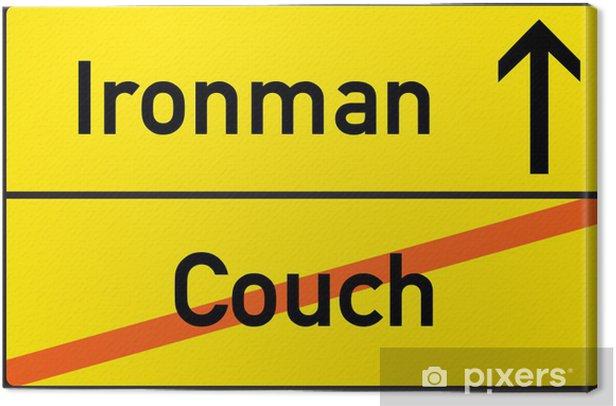 Tableau sur toile Schild Ironman Couch - Signes et symboles