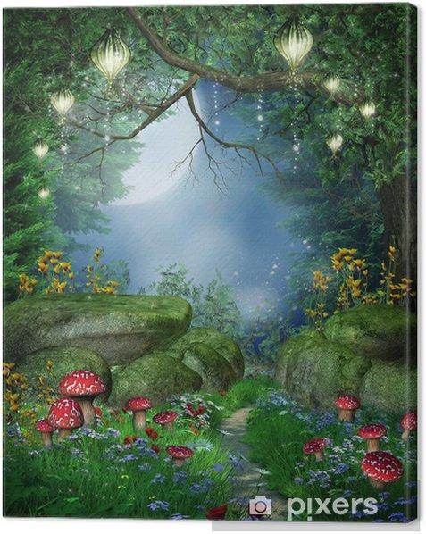 Tableau sur toile Ścieżka w Lesie z lampionami -