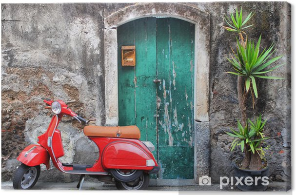Tableau sur toile Scooter rouge - iStaging