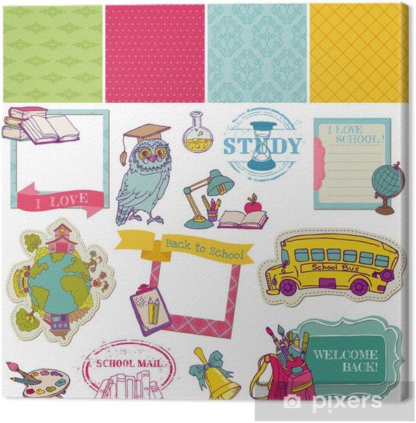 Tableau sur toile Scrapbook Design Elements-Retour à la conception et débris scolaire pour - Education