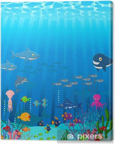 Tableau sur toile Sea life cartoon - Animaux marins