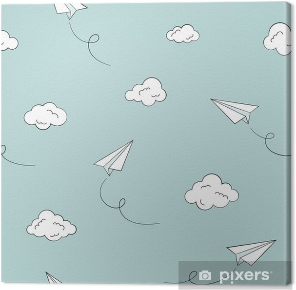 Tableau sur toile Seamless avec des avions et des nuages papier - Ressources graphiques