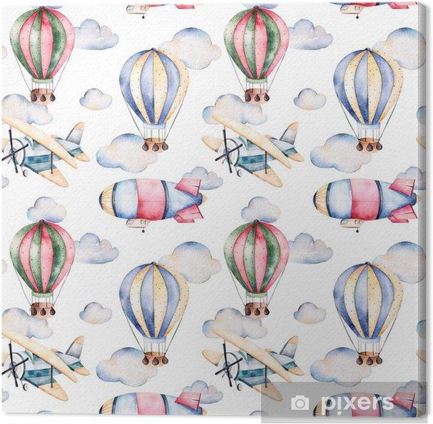 Tableau sur toile Seamless avec des ballons d'air, dirigeable, les nuages et le plan de ballons à air pastel colors.Watercolor joliment décoré sur fond blanc et d'autres aircrafts.Perfect pour le papier peint - Transports