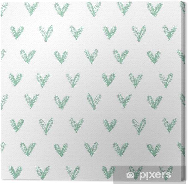 Tableau sur toile Seamless avec des coeurs dessinés à la main - Bonheur