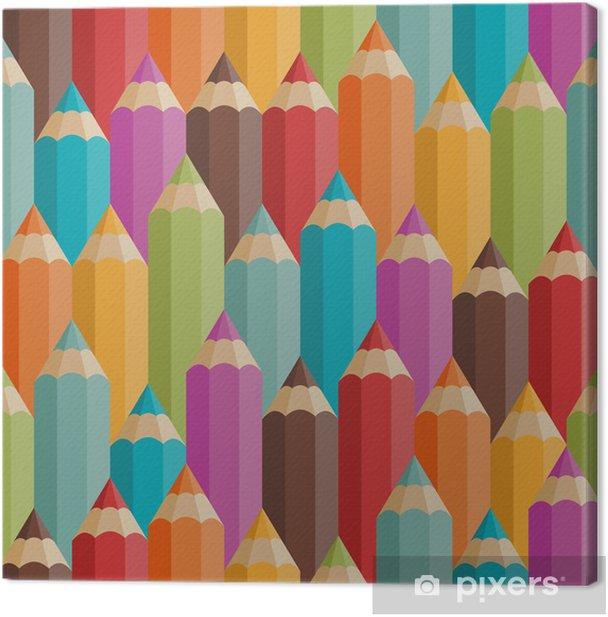 Tableau sur toile Seamless avec des crayons de couleur dans le style rétro. - Destin