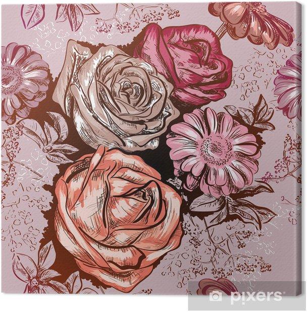 Tableau sur toile Seamless avec des roses et camomille - Fleurs