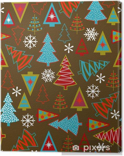 Tableau sur toile Seamless, avec différents arbres de Noël de style - Arrière plans