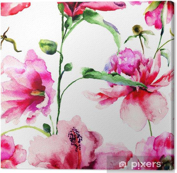 Tableau sur toile Seamless avec Ipomea et de pivoine fleurs illustration - Styles