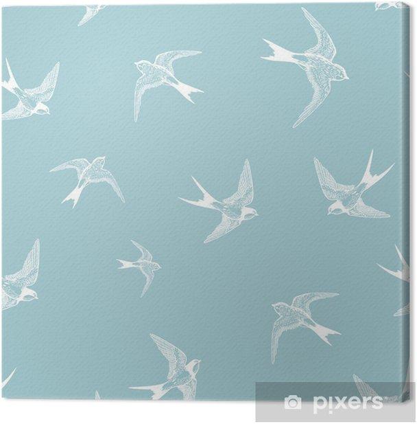 Tableau sur toile Seamless bleu avec petites hirondelles blanches - Oiseaux