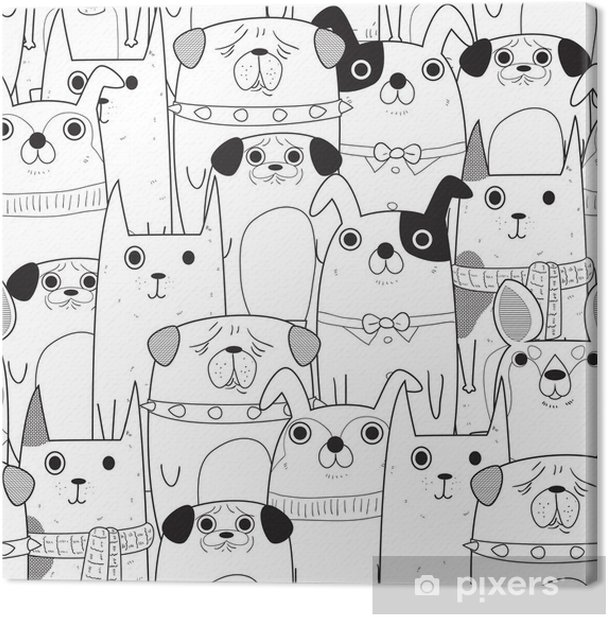Tableau sur toile Seamless chiens - Animaux
