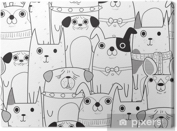 Tableau sur toile Seamless chiens - Animaux