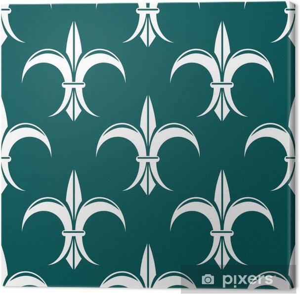 Tableau sur toile Seamless fleur-de-lis royal motif blanc - Arrière plans