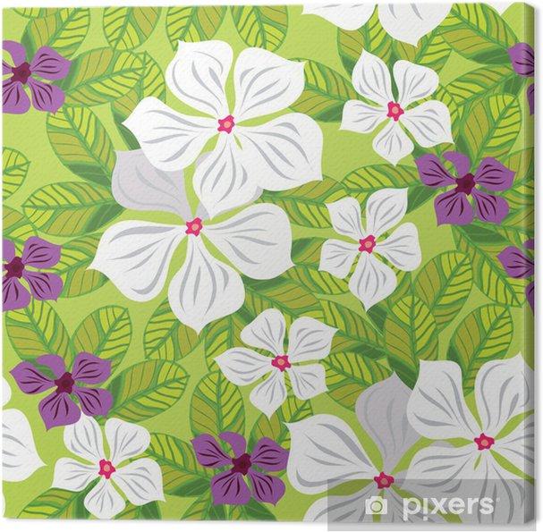Tableau sur toile Seamless floral avec des fleurs blanches, la main-dessin. Vecteur - Textures