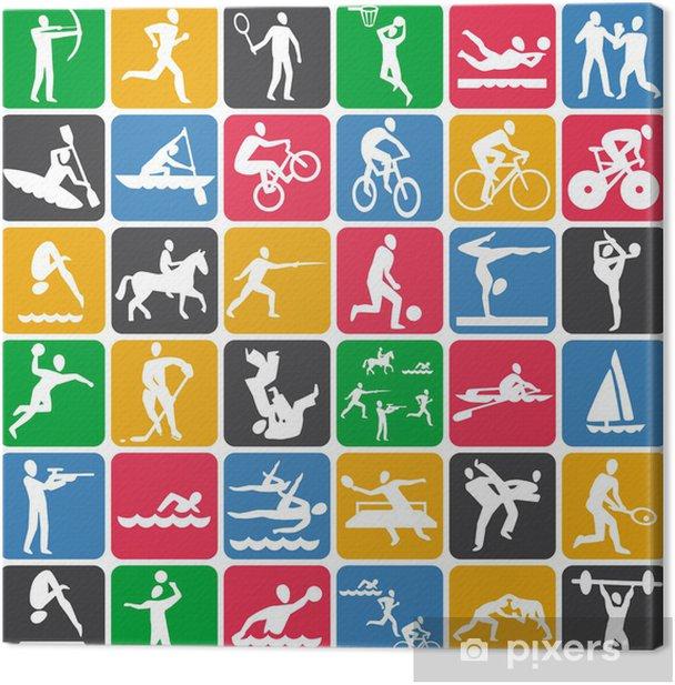 Tableau sur toile Seamless pattern avec des icônes du sport - Arrière plans