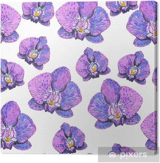 Tableau sur toile Seamless texture avec des marqueurs orchidées roses peintes - Thèmes
