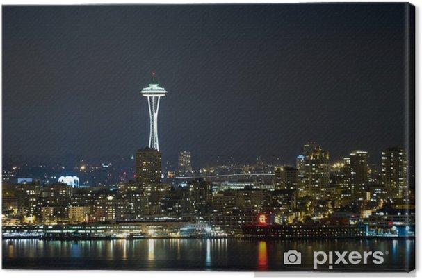 Tableau sur toile Seattle la nuit. - Villes américaines