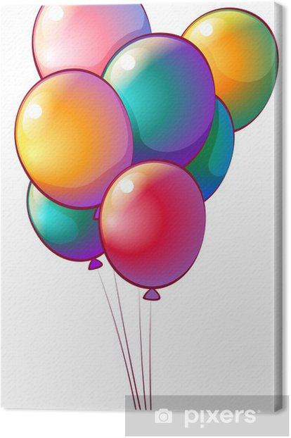 Tableau sur toile Sept ballons arc-en-couleur - Jeux
