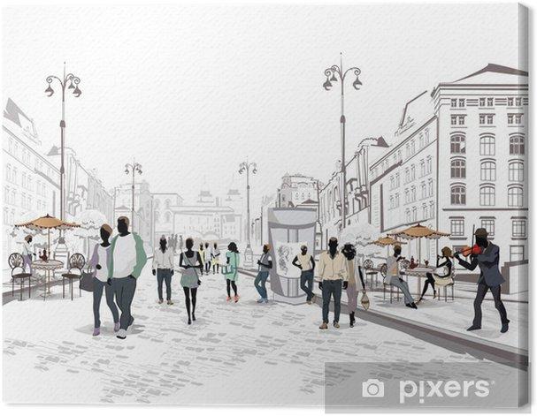 Tableau sur toile Série de vues de la rue avec des personnes dans la vieille ville - Paysages urbains