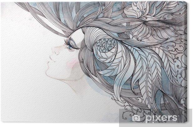 Tableau sur toile Ses cheveux orné de feuillages - Mode