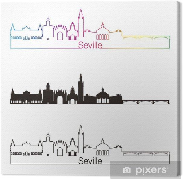 Tableau sur toile Séville V2 de style horizon linéaire avec arc en ciel - Paysages urbains