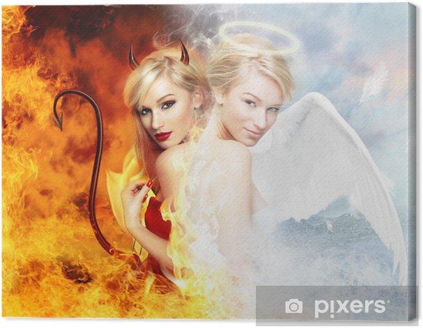 Tableau sur toile Sexy devil vs magnifique ange - Femmes
