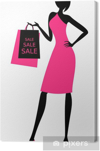 Tableau sur toile Shopping girl - Mode