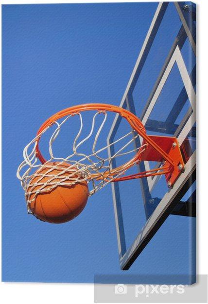 2d9da86ce5a89 Tableau sur toile Shot Basketball Falling Through the Net, Blue Sky -  Sports d