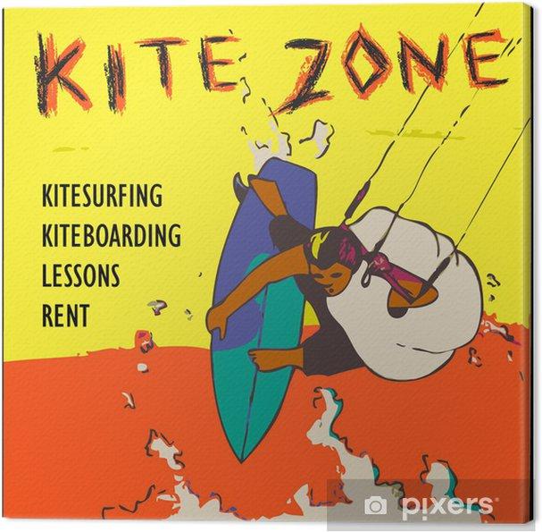 Tableau sur toile Signe de zone Kite - Sports aquatiques