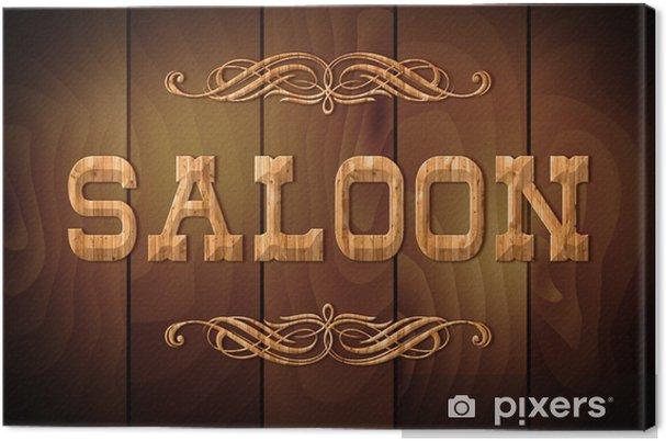Tableau sur toile Signe en bois SALOON sur un fond en bois - Signes et symboles