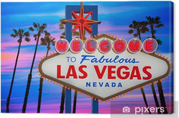 Tableau sur toile Signe fabuleux coucher de soleil de Las Vegas Bienvenue palmiers Nevada - Las Vegas