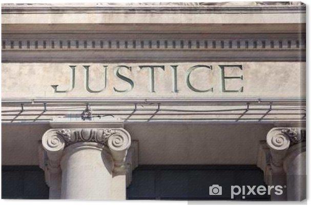 Tableau sur toile Signe Justice sur un bâtiment de palais de justice. - Questions de société