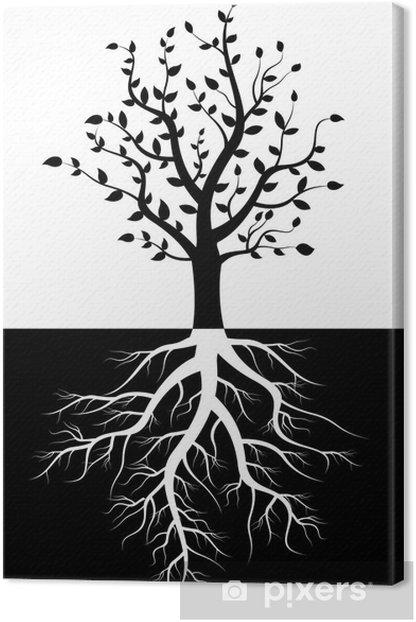 Tableau sur toile Silhouette d'arbre avec des racines - Arbres
