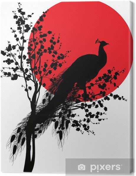 Tableau sur toile Silhouette de paon noir au soleil rouge sur fond blanc - Oiseaux