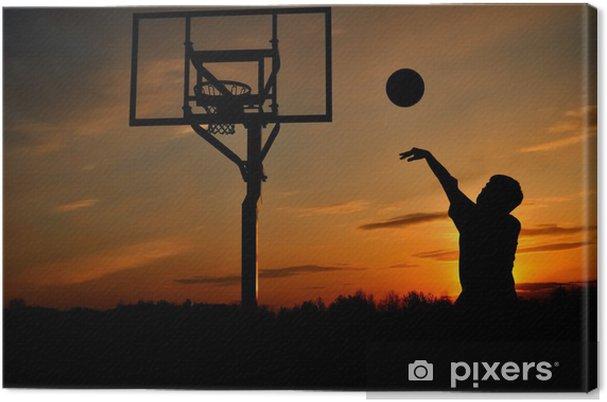 558f2d4434eb4 Tableau sur toile Silhouette de Teen Boy Shooting Basketball - Basket-Ball