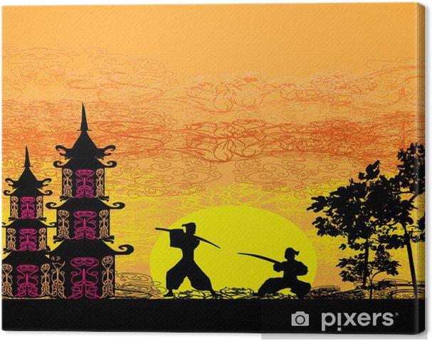 Tableau sur toile Silhouette illustration de deux ninjas en duel - Thèmes