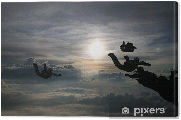 Tableau sur toile Silhouette Parachutistes - Sports individuels