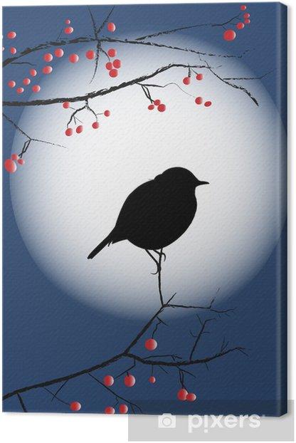 Tableau sur toile Silhouette petit oiseau sur branche - Oiseaux