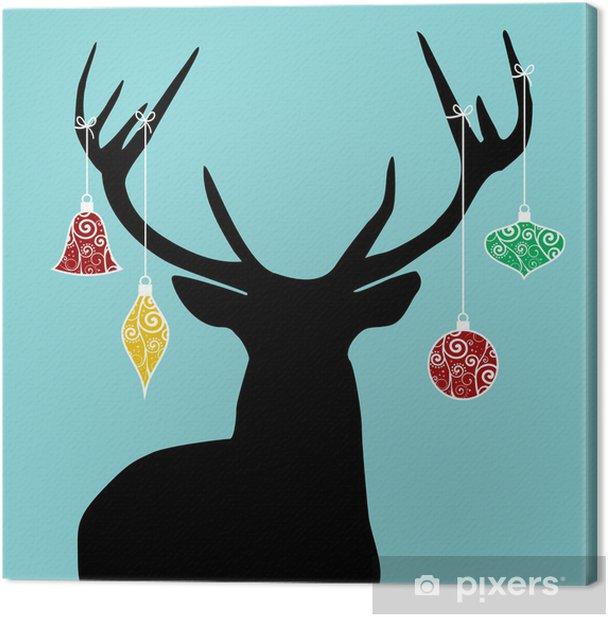 Tableau sur toile Silhouette rennes de Noël - Fêtes internationales